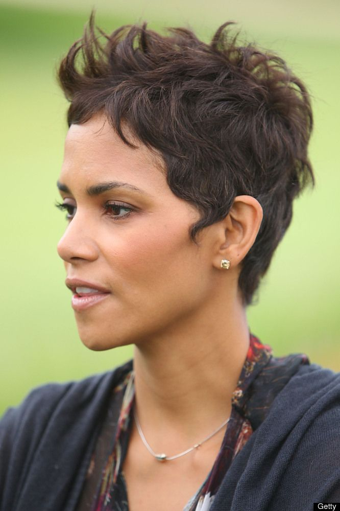 Halle Berry's famous pixie cut..similar texture, skin color, the ways it lays is classic and edgy without trying to be! Wallah!