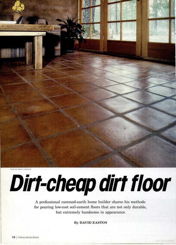 Very good details and instructions for soil-cement flooring