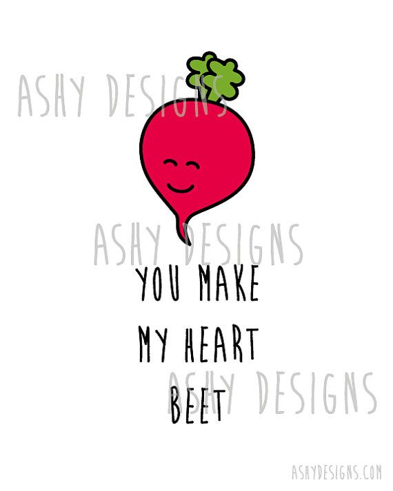 Vegetable Pun Artwork You Make MY HEART BEET 8x10 by AshyDesigns