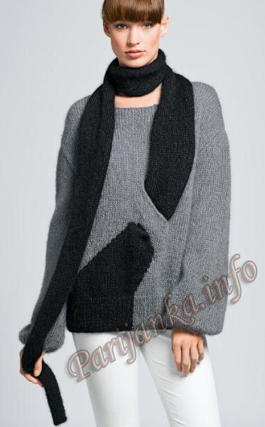 Пуловер с шарфом (ж) 02 Origin 5 Bergere de France №3380
