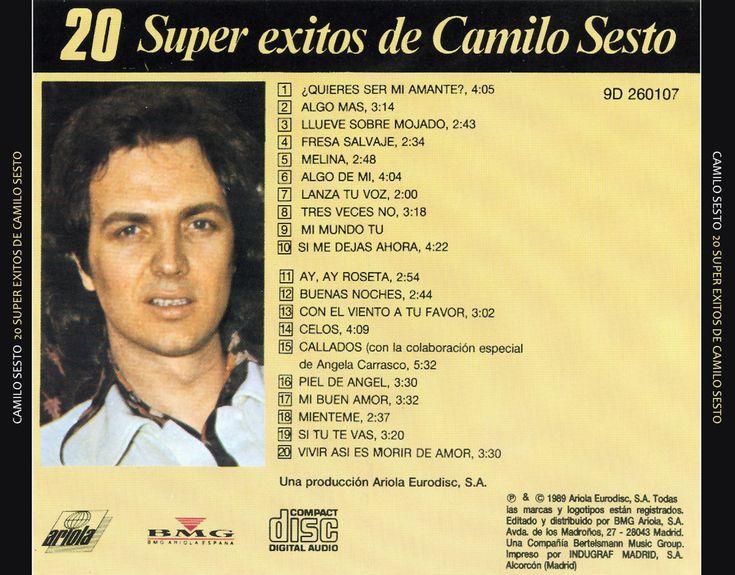 Caratula Trasera de Camilo Sesto - 20 Super Exitos De Camilo Sesto