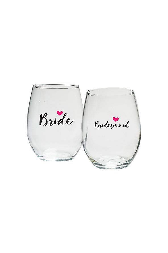 These Bridal Party Heart 15 oz Stemless Wine Glasses make great gifts for the whole bridal party! You will love sipping beverages during your wedding planning sessions, your bridal shower, or yo