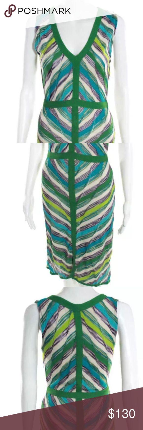 M Missoni Dress Green Multi Colored Striped V Neck Sheath Dress M Missoni Dresses
