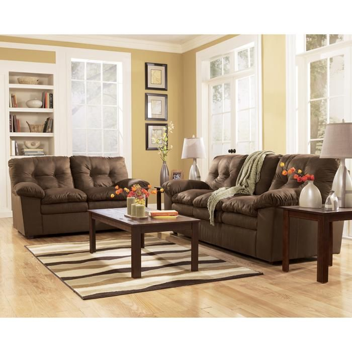 2 Piece Mercer Cafe Living Room Set In Brown