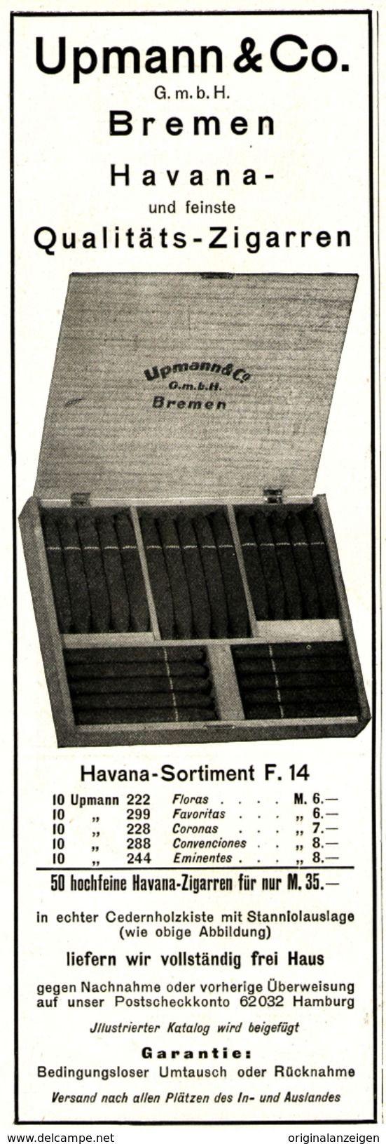 Werbung - Original-Werbung/Anzeige 1925 - HAVANA & QUALITÄTS - ZIGARREN / UPMANN BREMEN - ca. 75 X 220 mm