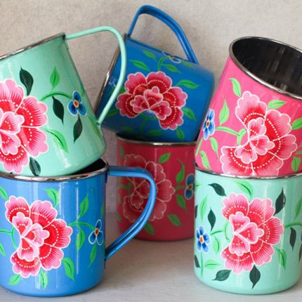 Hand Painted Enamel Floral Tins (3 set), stainless steel interior $56 | Connected Artisans