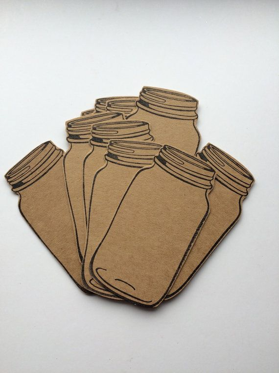 Ten Large Mason Jar Gift Tags, Made From Buff / Kraft Card.