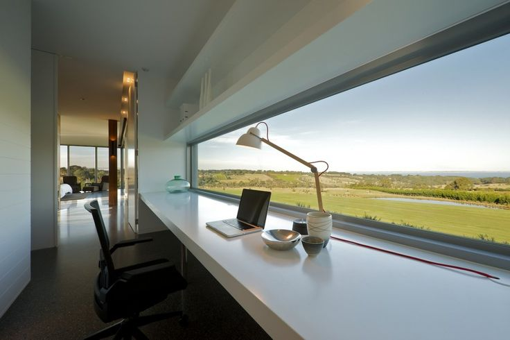 Like this long and short window above the study desk.