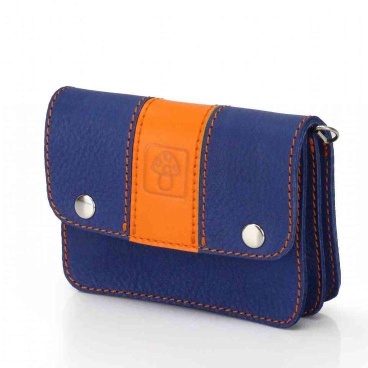 Синий кошелек с оранжевой полосой | 100% кожа, ручная работа | Дизайнер Leonid Titow
