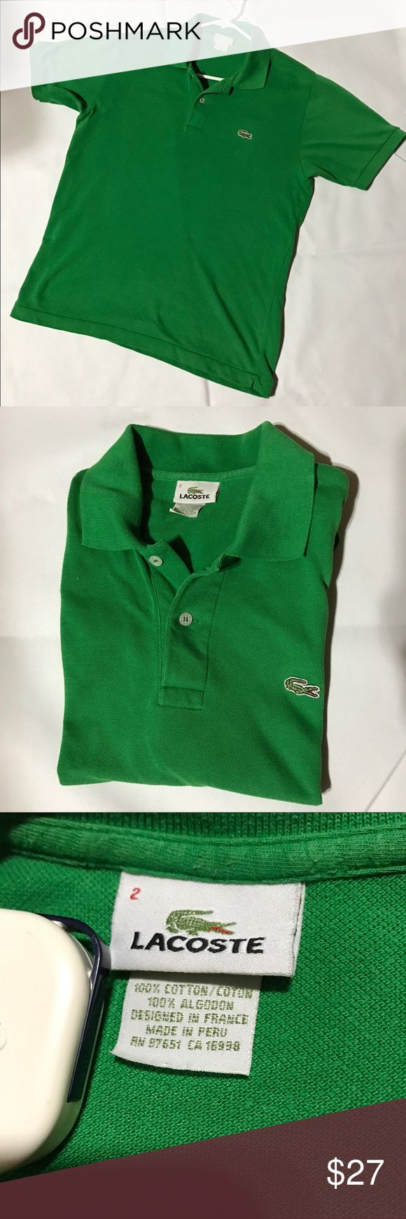 Used Lacoste Polo sz 2 green Up for sale is an Used Lacoste polo shirt size 2, made in Peru, this shirt is still in a very good shape, no holes, no stains whatsoever, comes from smoke and pets free house. Please don't hesitate to contact me if you have any question about the item :) have a nice day Lacoste Shirts Polos