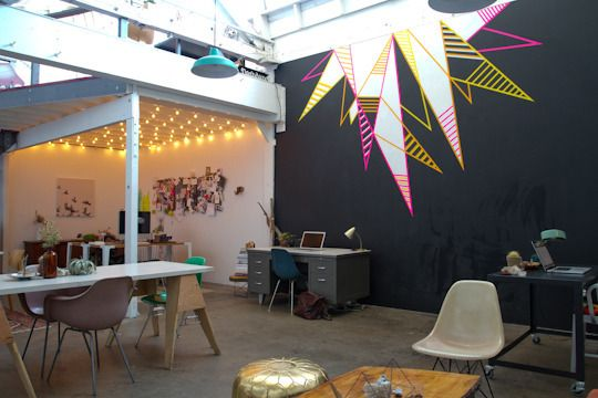 AWESOME loft office space {Design Love Fest + a group of other amazing creatives}: Wall Art, Interior, Studio Spaces, Apartment Therapy, Workspace Tour