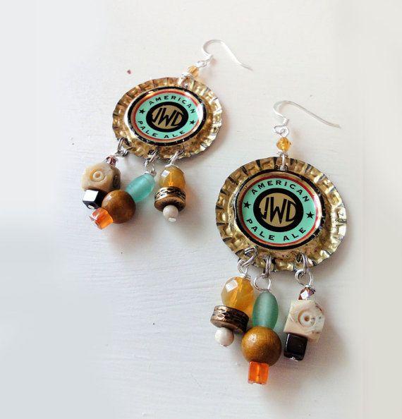 130 best craft beer cap and pop bottle cap and earrings for Beer cap jewelry