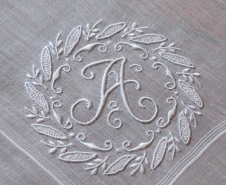 Em's Heart Antique Linens -Vintage Linen Madeira Embroidered Monogram Hanky