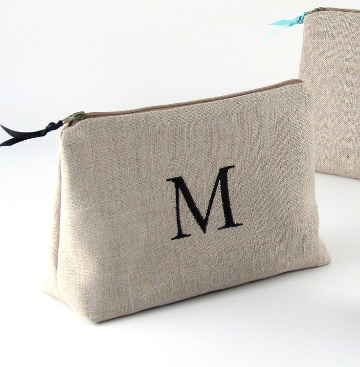 FREE SHIPPING - Personalized Linen Cosmetic Bag // Linen Clutch // Monogrammed Cosmetic Bag //  Linen Makeup Bag by PersonalizedFinds on Etsy https://www.etsy.com/listing/228767191/free-shipping-personalized-linen