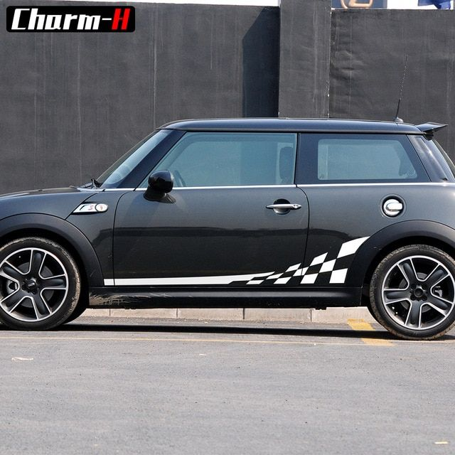 2pieces Checkerboard Checkered Flag Door Side Stripes Decal Stickers For Mini Cooper R56 R50 R52 R53 F56 R60 Countryman Access Mini Cooper Mini Cooper R56 Mini