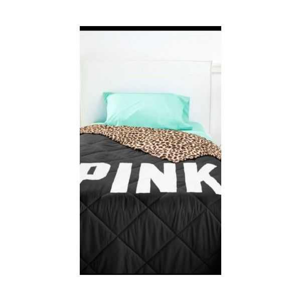 Victorias Secret Pink Leopard Print Bed in a Bag Comforter Sheets Set... ❤ liked on Polyvore featuring home, bed & bath, bedding, pink twin xl bedding, x long twin bedding, twin xl bed in a bag, victoria secret bedding and victoria's secret