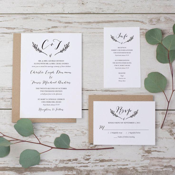 Rustic Wedding Invitation Template, Printable Wedding Invitation Suite,  Monogram Wedding Invitation Set, DIY