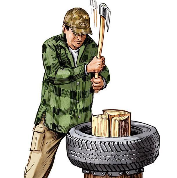 using a tire as a chopping block aid is an amazing idea!