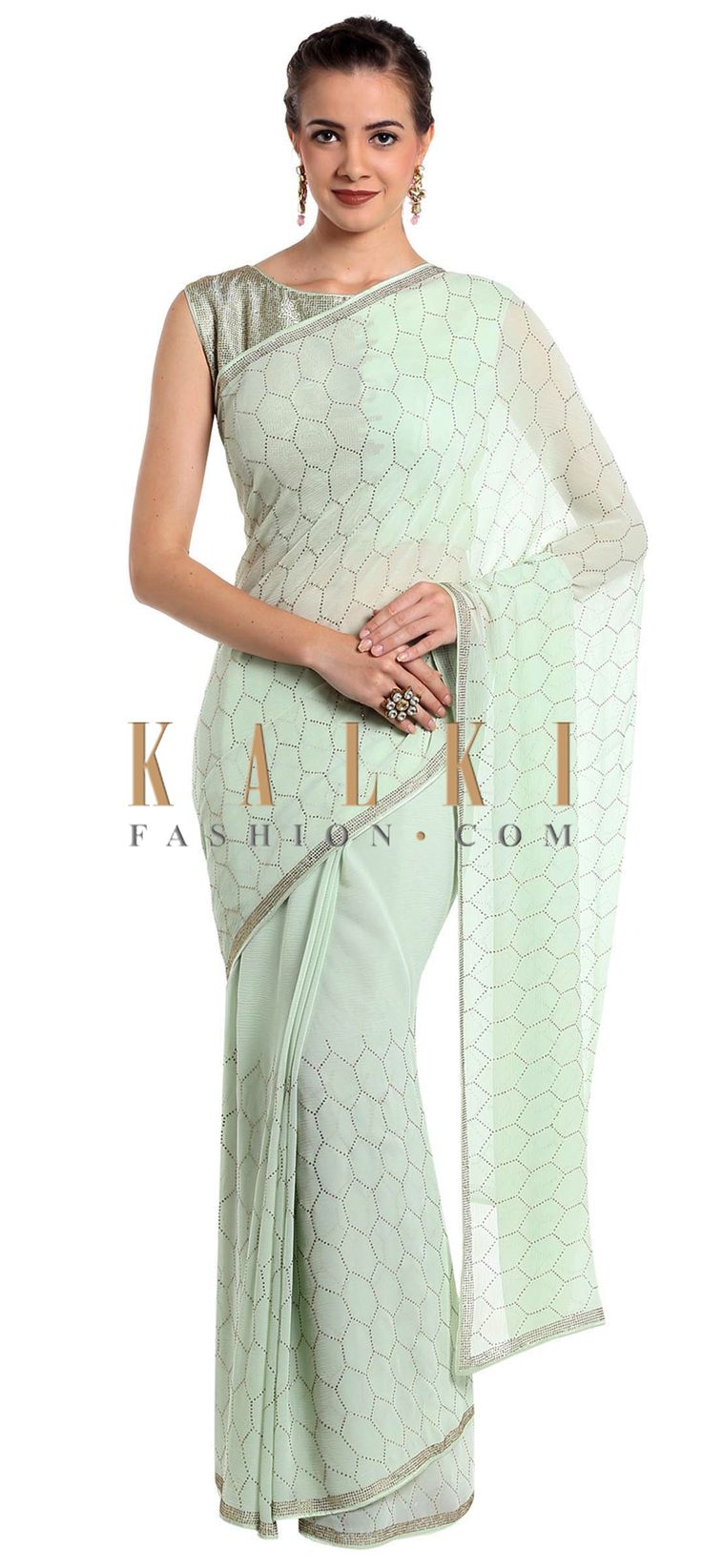 Mint green chiffon saree embellished with kundan work only on Kalki