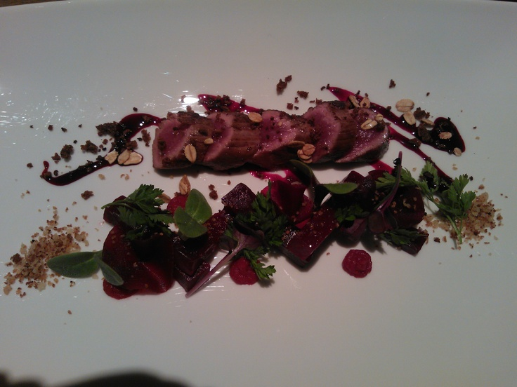 Baby lamb    Beetroot hummus, pickled beetroot, nut oil, rye bread granola  Ö, Tallinn