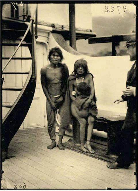 Selk'nam natives in route to Europe for being exhibited as animals in human zoos. ca.1889