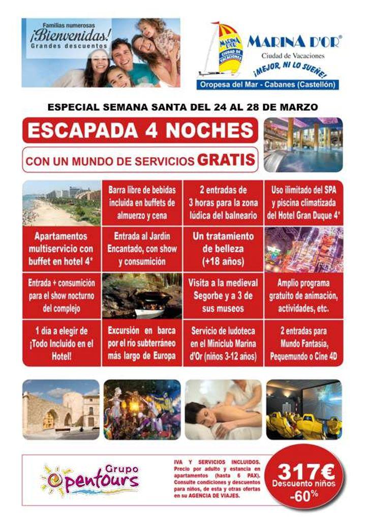 | GRUPO OPENTOURS | . MARINA DOR (Oropesa del Mar, Castellón) ---- Especial SEMANA SANTA 2018 ---- 4 noches, del 24 al 28 de Marzo ---- Resto condiciones de esta oferta en www.opentours.es ---- Información y Reservas en tu - Agencia de Viajes Minorista - ---- #marinador #oropesa #oropesadelmar #castellon  #escapadas #hoteles #vacaciones #estancias #ofertas #familias #niños #agentesdeviajes  #reservas #touroperador #mayorista #spain #agenciasdeviajes #opentours #grupoopentours…