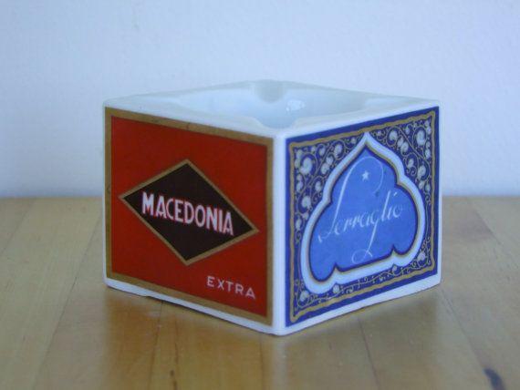 Retro Ashtray - Italian Porcelain (Verbano Porcella di Laveno), Travel Theme. 1960's/1970's - Amazing Condition