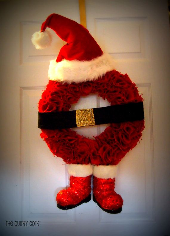 Red Santa Burlap Wreath by TheQuirkyCork on Etsy, $70.00
