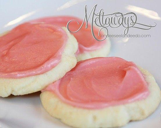 Melt-away Cookies. Only 5 ingredients: butter, cornstarch, powdered sugar, flour, cream cheese.