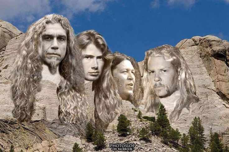"""TOM ARAYA of SLAYER, DAVE MUSTAINE of MEGADETH, CHUCK BILLY of TESTAMENT and JAMES HETFIELD of METALLICA, on mountain faces  """"The World's No:1 Online Heavy Metal T-Shirt Store"""". Check it out our Metalhead Clothing and Apparel Store, Satanic Fashion and Black Metal T-Shirt Stores; www.HeavyMetalTshirts.net"""