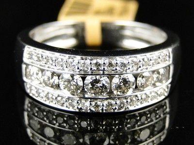 10K New Mens White Gold Round Cut Diamond Ring Wedding Band 1 1 Ct 7 5 Mm | eBay