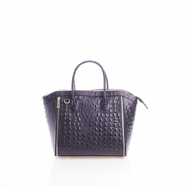 - Leder handtas met kokosnoot print zwart kleur