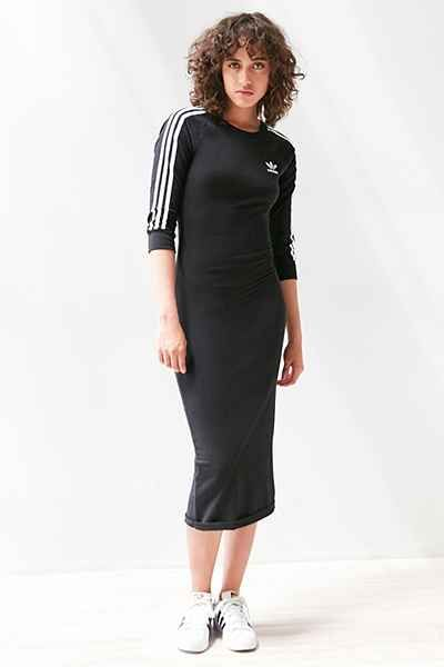 Adidas Originals 3 Stripe Bodycon Midi Dress Adidas