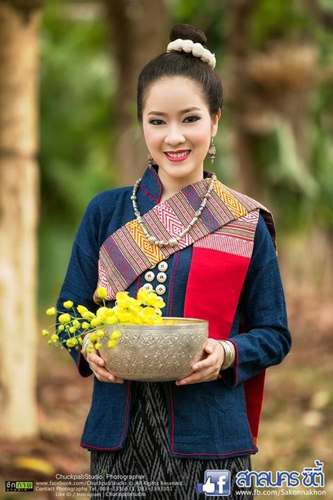 Traditional I-san costume (Northeastern of Thailand) Phutai ethnic in sakolnakorn province.