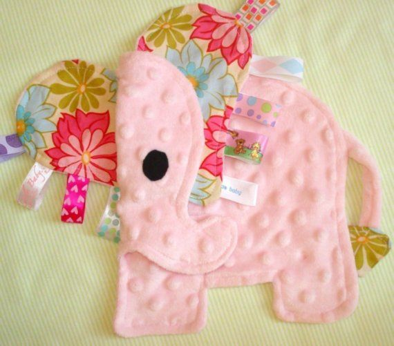 Eli the Elephant Tag Blanket Lovey Toy by aebaby on Etsy, $18.50