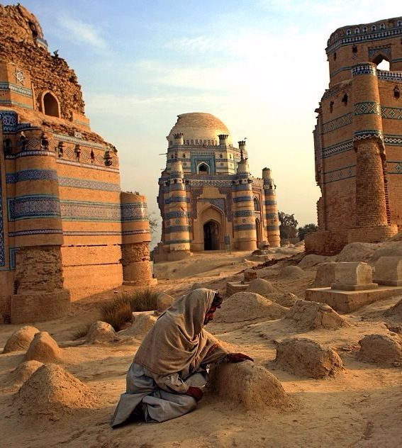 40% of the people in Pakistan live in rural areas like as depicted. But 95% of all the population is Islam. In the picture a man is at an Islam cemetery.