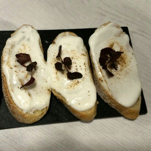 Our homemade bread with alioli. #delicious #saborestapas #Prague #homemadebread