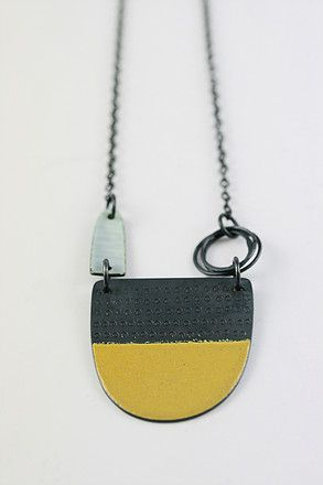Silver and vitreous enamel unique, handmade necklaces in contemporary designs…