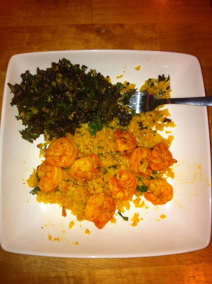 Our pink method dinner tonight: Spicy shrimp & cauliflower rice with kale chips
