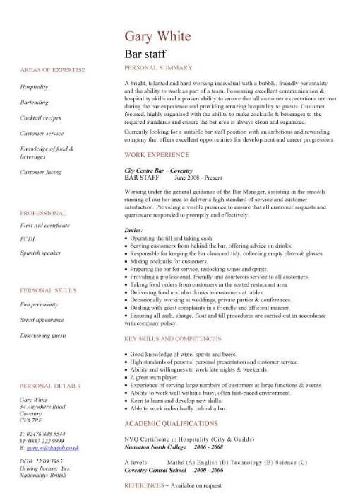 13 best Resume/Letter of Reference images on Pinterest Resume - hospitality resume examples
