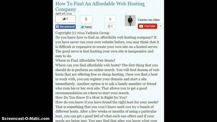 How To Find An Affordable Web Host