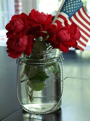 Simple flowers with flag. Beautiful.
