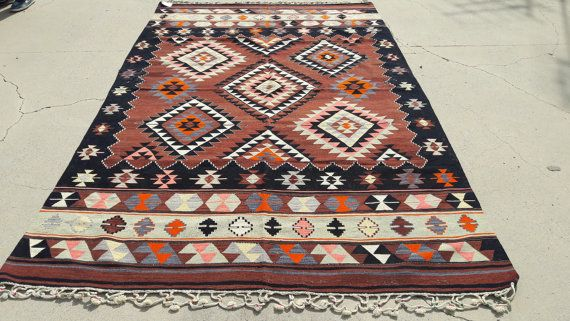 8x5 Vintage West Anatolian Kilim RugBeautifull by OrientArtGallery