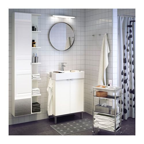 LILLÅNGEN High cabinet with mirror door - white - IKEA love it with that open shelving on the side!
