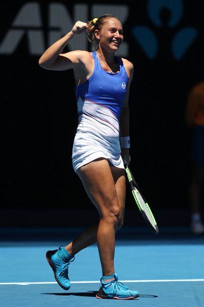 Kateryna Bondarenko Photos - Kateryna Bondarenko of Ukraine celebrates winning match point in her second round match against Anastasia Pavlyuchenkova of Russia on day three of the 2018 Australian Open at Melbourne Park on January 17, 2018 in Melbourne, Australia. - 2018 Australian Open - Day 3
