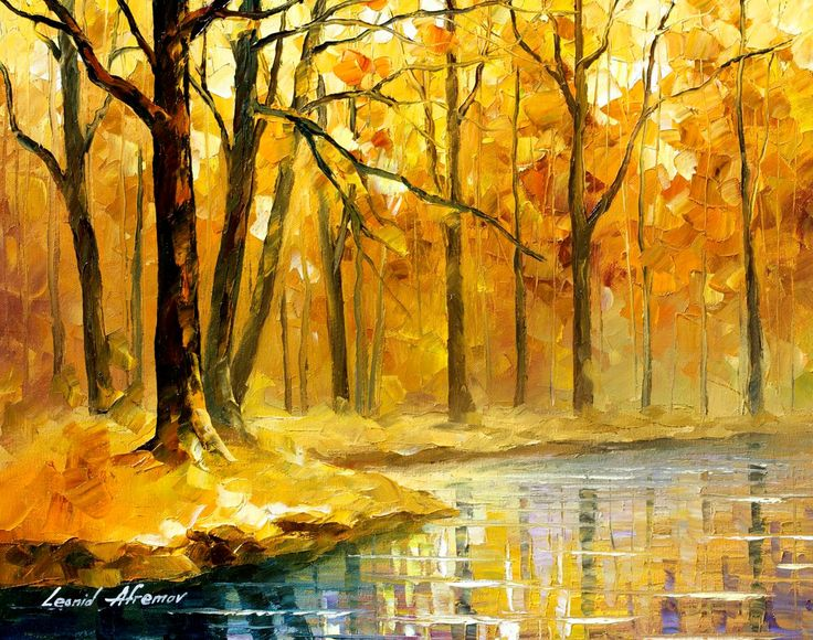 Yellow Artwork Autumn River Oil Painting On Canvas By Leonid