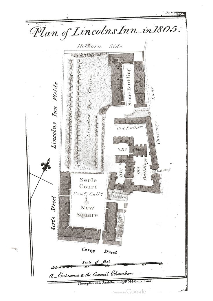 Plan of Lincolns Inn in 1805, from Student's Guide Through Lincoln's Inn by Thomas Lane, 1805. Lincoln's Inn is comprised of the Old Buildings, The Garden, Serle Court or New Square, and The Stone Building.