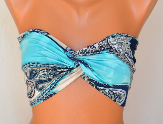 Turquoise paisley print swimsuit spandex twisted bandeau by bstyle, $25.00