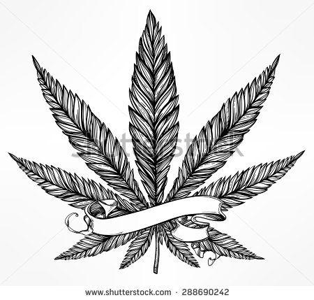 Konope Cannabis Leaf vo vrcholnom lineárnym štýle.  Marihuana siluetu clip art.  Koncept design, elegantný tetovanie umelecké diela.  Izolované vektorové ilustrácie.  Váš text šablóny.  - Vybrať