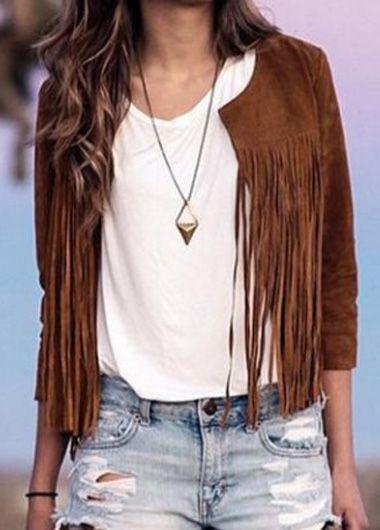 Fashion Tassel Decorated Round Neck Brown Jacket